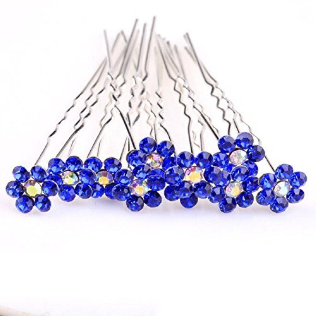 con motivo floreale con strass Di alta qualit/à elegante colore: blu Navy per abiti da sera 10 pin Spille per capelli di Trendz