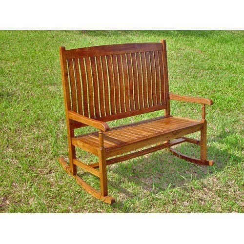 International Caravan Highland Acacia Stained Double Porch Rocker (Collection Two Seater Rocker)