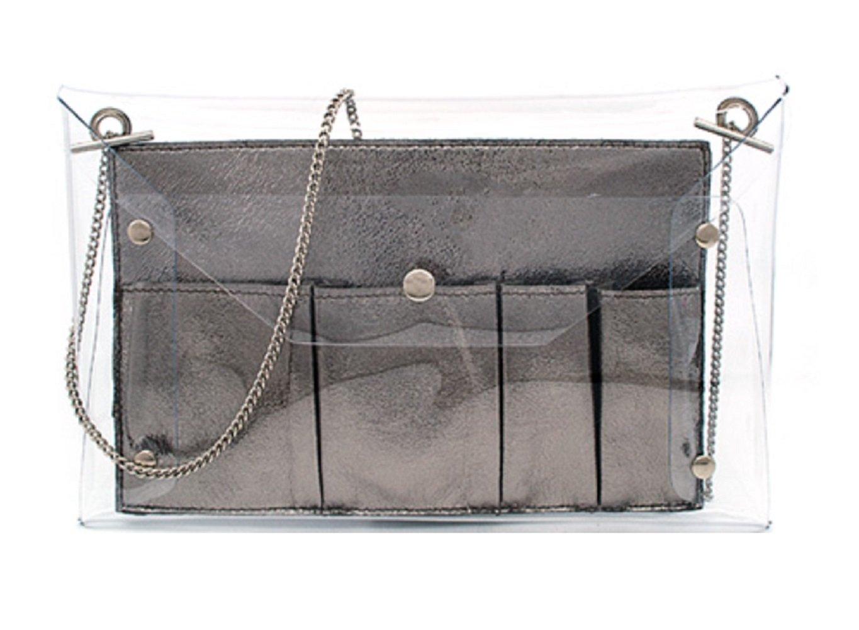 MARKFRAN Clear Envelope Clutch Handbag Crossbody Bag w Inner Organaizer, 2 in 1 (Gun Metal)