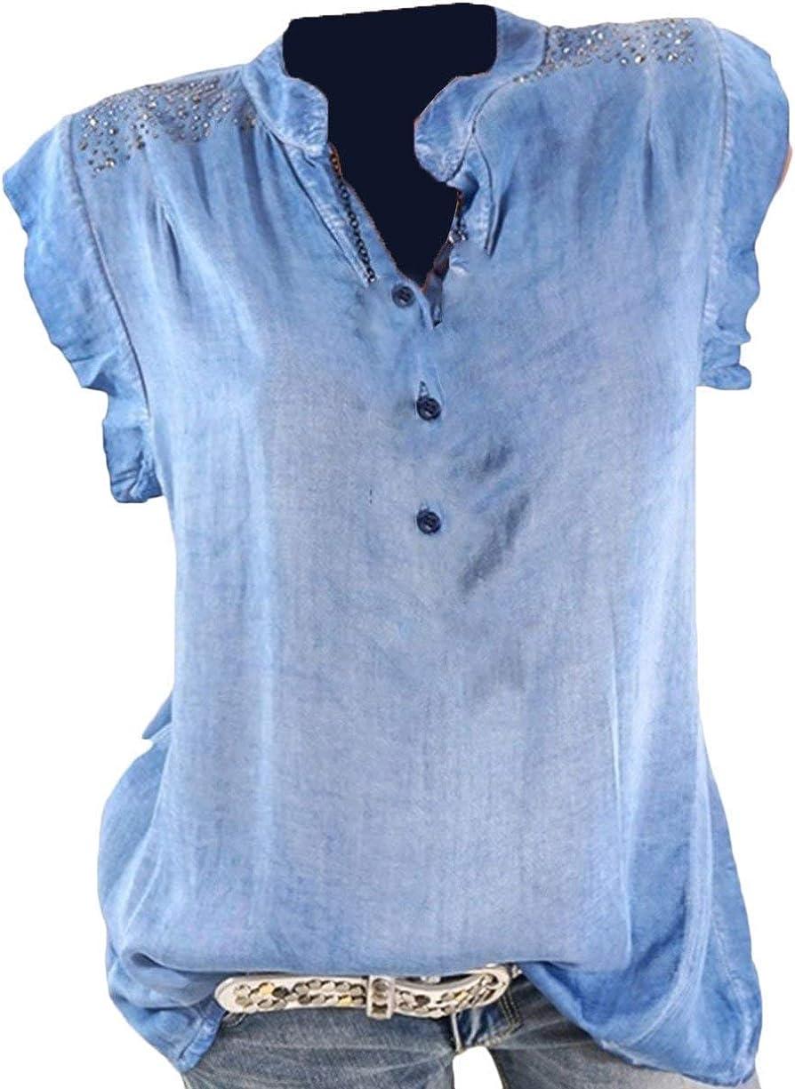 Mujer Camisetas Verano Basicas Shirts Elegante Moda Suave Cómodo Camisas Sencillos Hipster Hipster Manga Corta V-Cuello Splice Encaje Botonadura Moda Joven Slim Fit Tops Blusas Estilo: Amazon.es: Ropa y accesorios