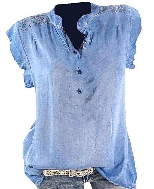 Mujer Camisetas Verano Basicas Shirts Elegante Moda Suave Cómodo Camisas Sencillos Hipster Hipster Manga Corta V-Cuello Splice Encaje Botonadura Moda Joven ...