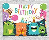 Ambesonne Birthday Decorations for Kids Tapestry, Little Baby Monsters Party Cones Confetti Balloons Image, Wall Hanging for Bedroom Living Room Dorm, 80 W X 60 L inches, Multicolor