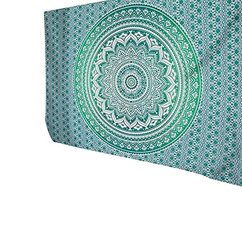 Han Shi Bohemian Bedspread, Vintage Indian Mandala Tapestry Beach Towel Hippie Wrap Dress (L, Green)