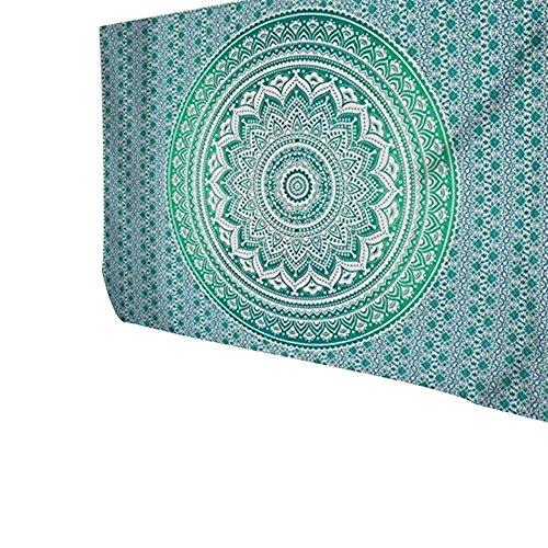 Han Shi Bohemian Bedspread, Vintage Indian Mandala Tapestry Beach Towel Hippie Wrap Dress (L, Green)