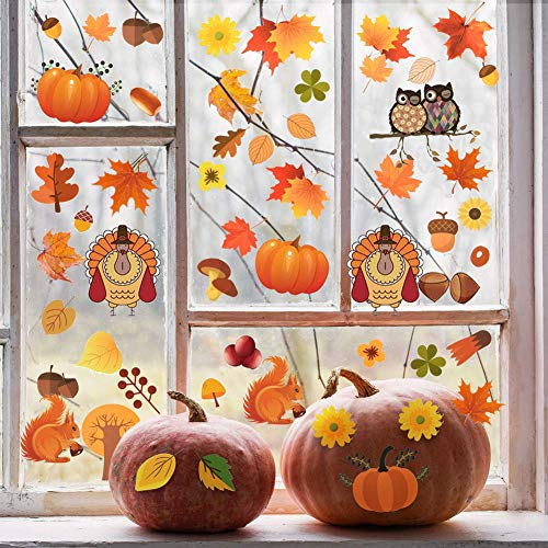 Thanksgiving Window Clings Decorations - 111Pcs Thanksgiving Autumn Decal Stickers with Maple Fall Leaves Squirrel Pumpkin Turkey for Thanksgiving Day Patry Room Decoration