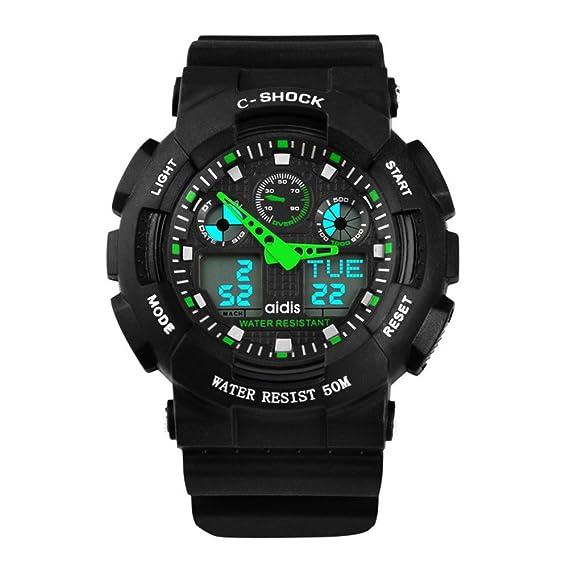 Reloj impermeable del deporte del mens escalar montañas resistente al agua relojes digitales reloj de pulsera multifuncional led-B: Amazon.es: Relojes