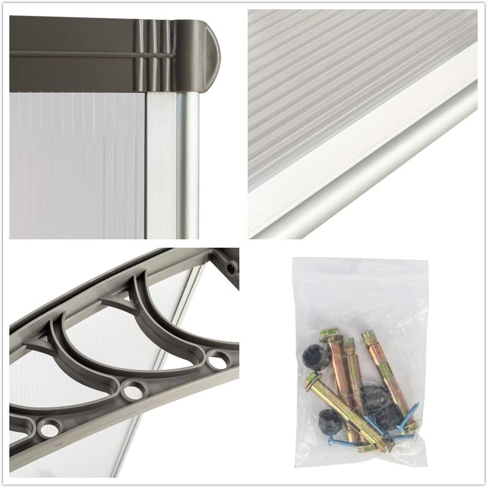 Simply-Me 40 x 40 Door Window Awning Polycarbonate Cover Front Door Outdoor Patio Awning Canopy UV Rain Snow Protection Hollow Sheet Silver /& Black Bracket