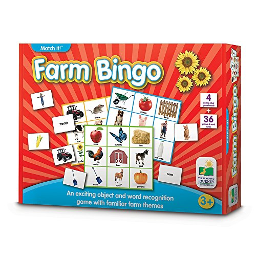 The Learning Journey Match It! Bingo - Farm - Reading Game for Preschool and Kindergarten 36 Picture Word Cards