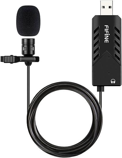 Amazon.com: Lavalier Micrófono de solapa, Fifine USB Samsung ...