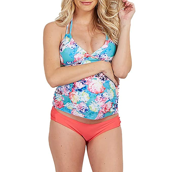 faf0cfa728dec Amazon.com: Women V-Neck Print Maternity Bikini Set Strappy Hanging Swimsuit  Halter Pregnant Swimwear: Clothing