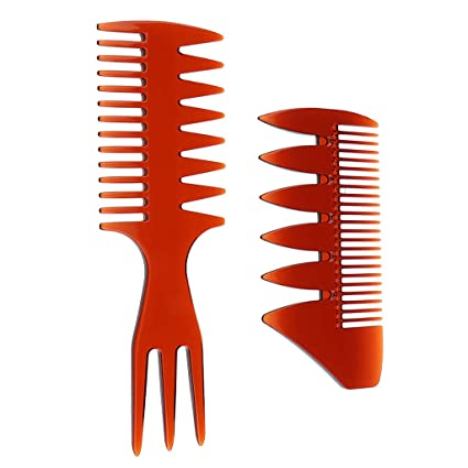 B Blesiya 2 Estilos Peine de Cabello Desenredador Cepillo de Dientes Anchos Pincel para Hombre Mujer