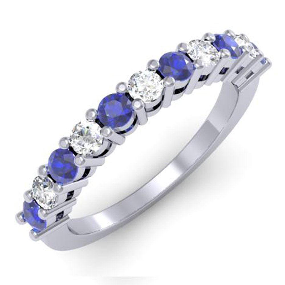 10K White Gold Round White Diamond & Blue Sapphire Anniversary Stackable Wedding Band (Size 8)