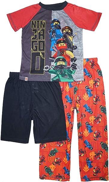 LEGO Boys Big Ninjago Ninja Eyes 3-Piece Pajama Set-tee-Shorts-Pants
