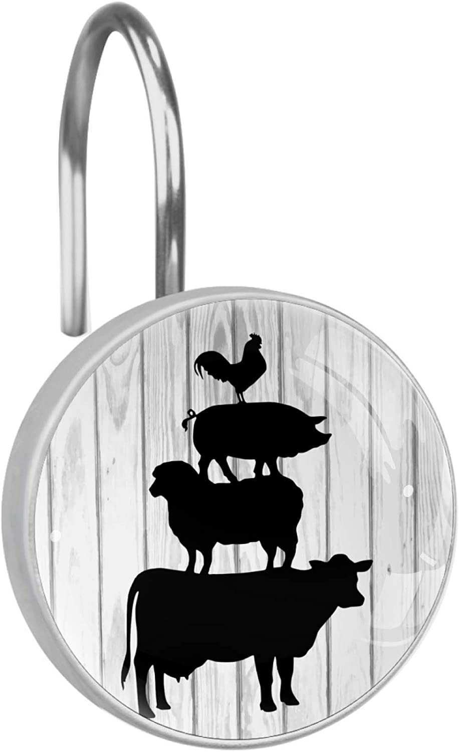 Rustic Farmhouse Cow Chicken Pig Animal Shower Curtain Hooks Set of 12, Stainless Steel Rust-Resistant Shower Hook Ring Decorative Hanger Rings for Bathroom Kids Room Living Room Bedroom Home Decor
