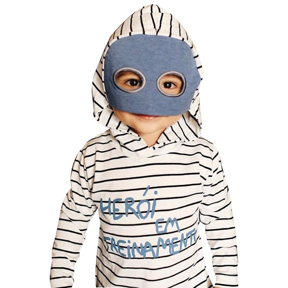 Tronet Winter Baby Clothes Boys Girls Kids Autumn Winter Striped Hooded Letter Sweatshirts Cosplay Tops Outfits