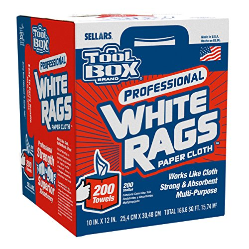 Box White Wipers (Sellars 58202 ToolBox White Rags Box, 10