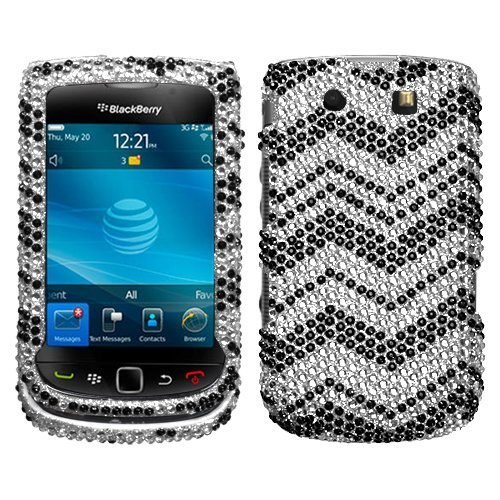 Black N White Faceplates - Zig Zag(Black/White) Diamante Protector Faceplate Cover For RIM BLACKBERRY 9800(Torch), 9810(Torch 4G)