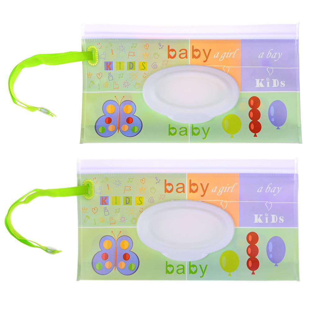 2 PCS Wet Wipe Pouch Baby Wipe Case Holder Dispenser Refillable Moist Diaper Wet Wipe Clutch Strap Bag Wipes Container (No Wipes in IT) - 9.4 x 5.2 inches maryy call me