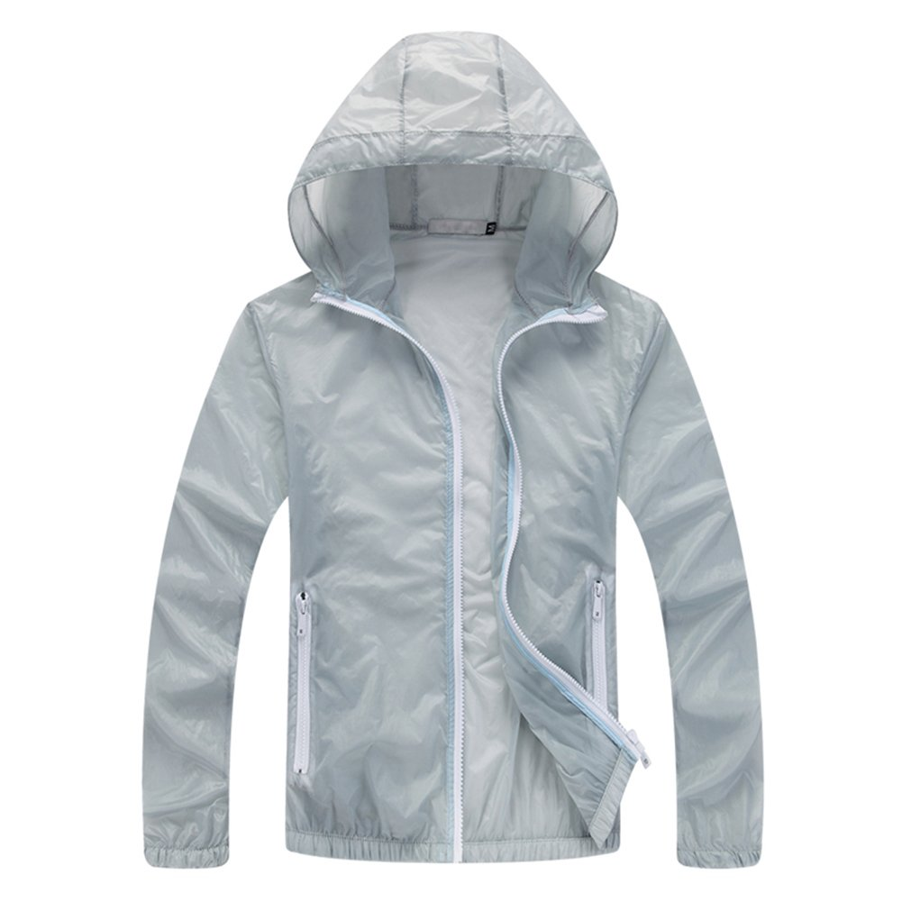HULANG Mens Lightweight Windbreaker Skin Coat Sport Outdoor Hooded Jacket