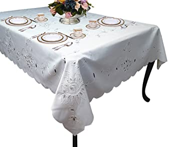Violet Linen Rivierra Embroidered Design Oblong/Rectangle Tablecloth,  70u0026quot; X 120u0026quot;,