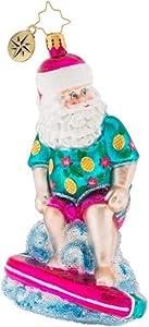 Christopher Radko Hand-Crafted European Glass Christmas Decorative Figural Ornament, Surfing Safari Santa