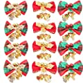 AMAZYJ 12 Pack Christmas Cute Mini Bow with Bells Christmas Tree Hanging Decoration 3 Color Bows to Decoration Mini Christmas Tree Wedding Party Bowknot Ornaments