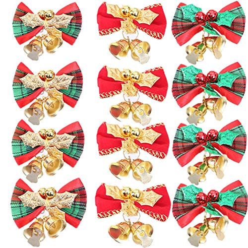 (AMAZYJ 12 Pack Christmas Cute Mini Bow with Bells Christmas Tree Hanging Decoration 3 Color Bows to Decoration Mini Christmas Tree Wedding Party Bowknot Ornaments (1.37'x2.16') )