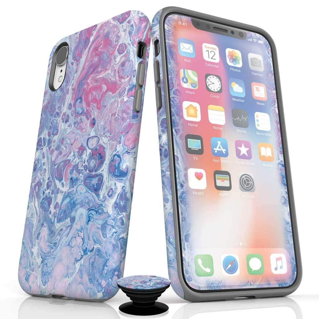 Phone Accessory Bundle for iPhone XR - Screen Protector, Glossy iPhone Case, and Cell Phone Grip with Go with The Flow Design by Screenflair