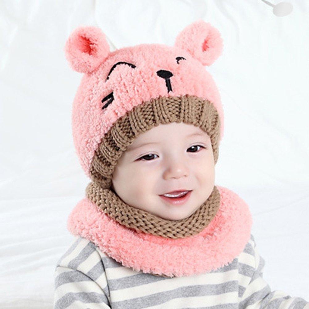 Meiyuan - Rosado Gorro de invierno invierno con niñas orejas de gato ...