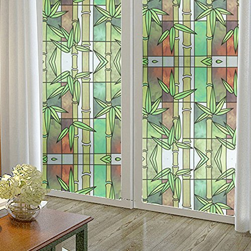 Soqool Decorative Etched Glass Decals Frosted Window Film for Window Stained Glass Window Film No Glue Window Film for Home/Office Decor,17.7' by 78.7