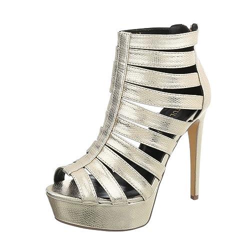 Ital Design High Heel Sandaletten Damenschuhe Pfennig Stilettoabsatz Heels Reißverschluss Sandalen &