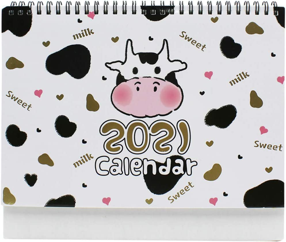 2020-2021 Cartoon Unicorn Desk Calendar Cute Standing Flip Calendar Daily Monthly Table Planner Agenda Organizer for Home Office School