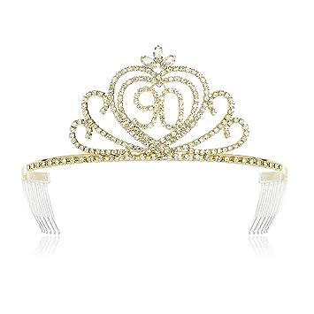 DcZeRong Women 90th Birthday Tiaras Crown Women 90th Birthday Queen Crowns Gold
