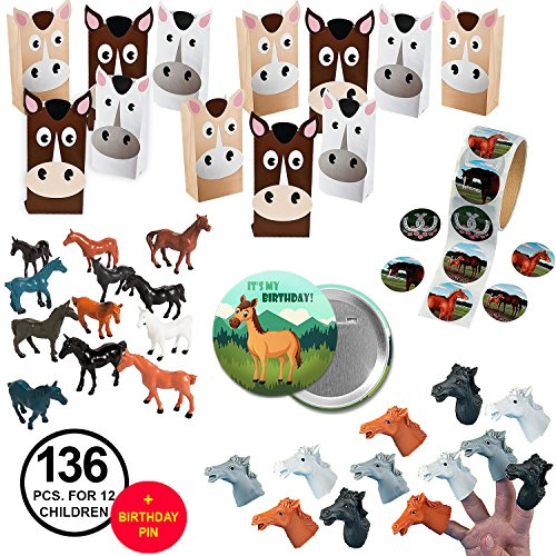 Pin To Foal - Horse Party Favors Birthday Party Supplies Rodeo or Western Party Favors Bundle for 12 Kids