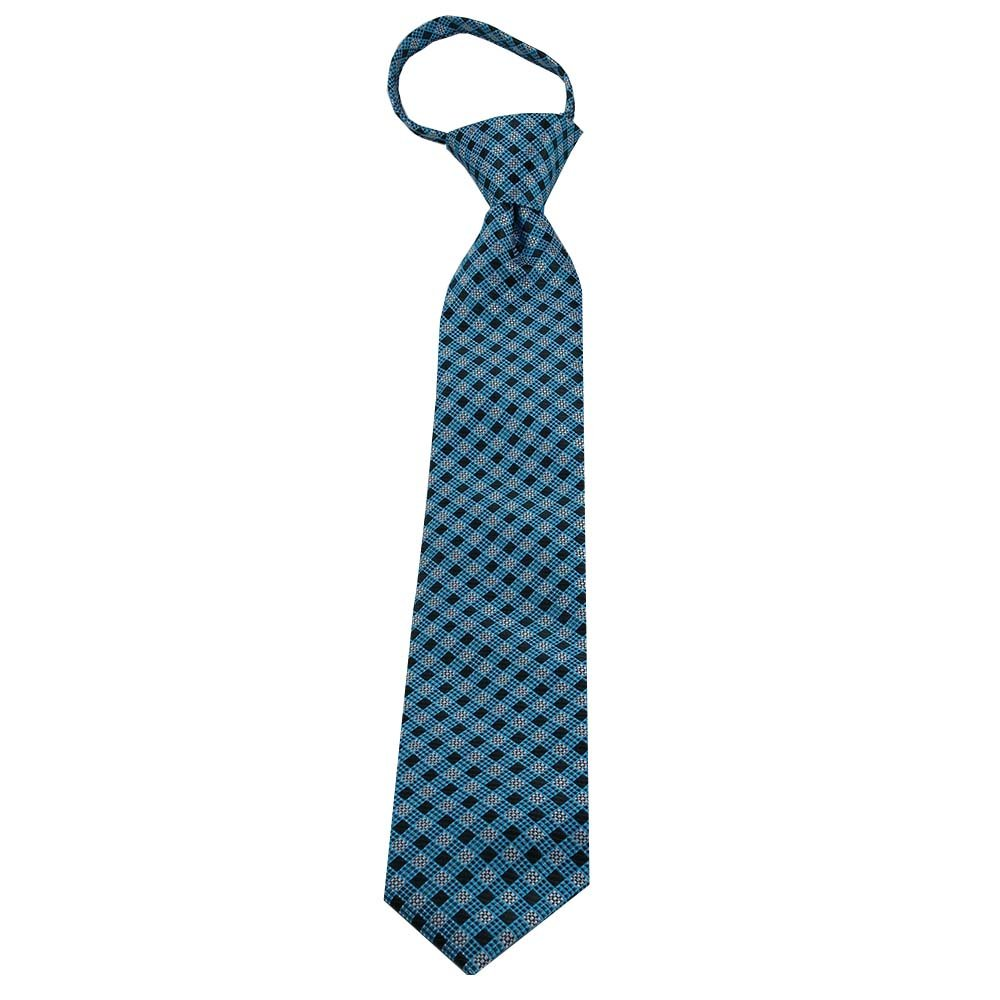 Kids Zipper Tie Teal and Black Plaid Tie for boys age 4-9 Age 4-9 years old