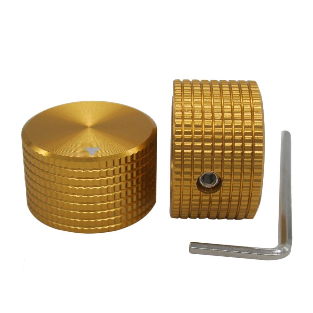 Taiss/2pcs Golden color Aluminum Rotary Electronic Control Potentiometer Knob For 6 mm Diameter Shaft, Volume Control Knob, Audio knob, Electric Guitar Knobs,Switch Knob, 25mm dia. x 15mm height