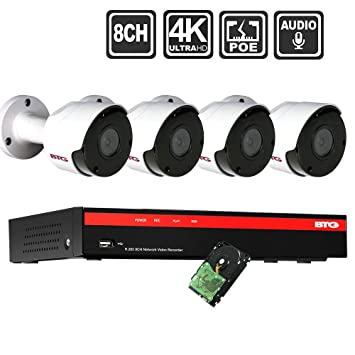 BTG 8CH 4K Video/Audio Poe Home Security IP Camera System 8MP NVR Built-