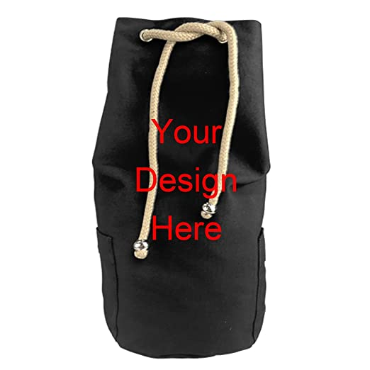 Image Unavailable. Image not available for. Color  Custom Drawstring Bucket  Bag Black Canvas Backpack ... eb3c0b03ef
