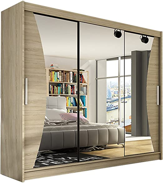 Moderno armario espejo dormitorio 3 puerta corredera grande armario Notsa 4 Ancho 250 cm: Amazon.es: Hogar