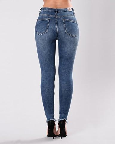 Anyu Vaqueros Skinny Push-Up Pantalones Elástico Jeans Bordados Vaqueros para Mujer