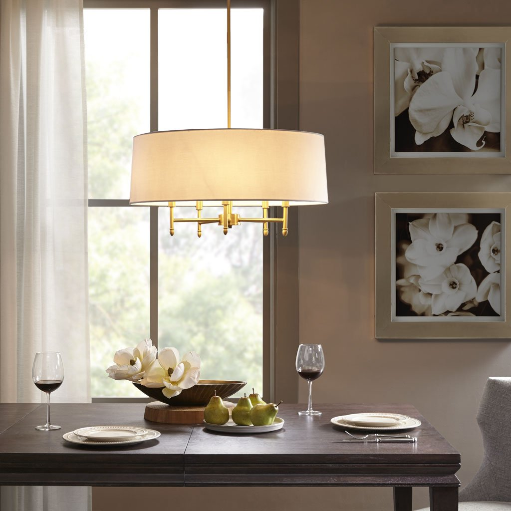 Madison Park Signature MPS150-0067 Presidio 5 Modern Chandeliers-Metal, White Fabric Shade Pendant Ligthing Lamp Ceiling Dining Lighting Fixtures Hanging Gold