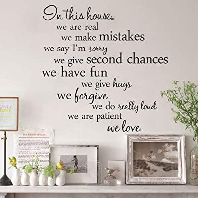 856store Wall Stickers & Murals Home Décor,in This House Letter Wall Sticker Self-Adhesive Decal Home Living Room Decor - Black,Removable Mural Paper: Baby