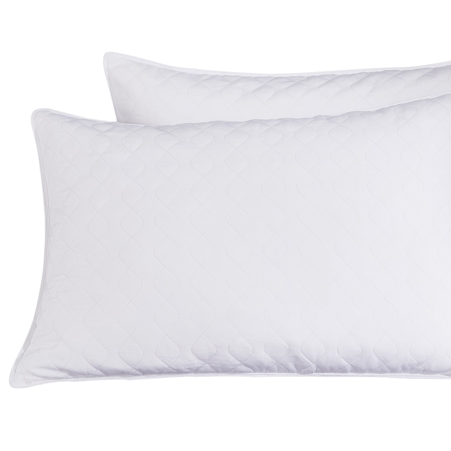 puredown Pillow Quilted Goose Feather Set of 2,White Size, King