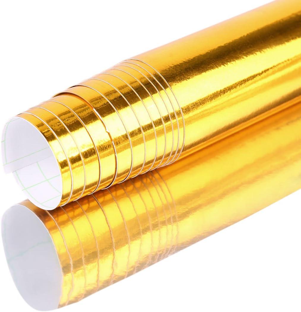 "Chrome Gold Tone Bubble Free Car Roll Vinyl Film Sticker Wrap  60/"" x 12/"""