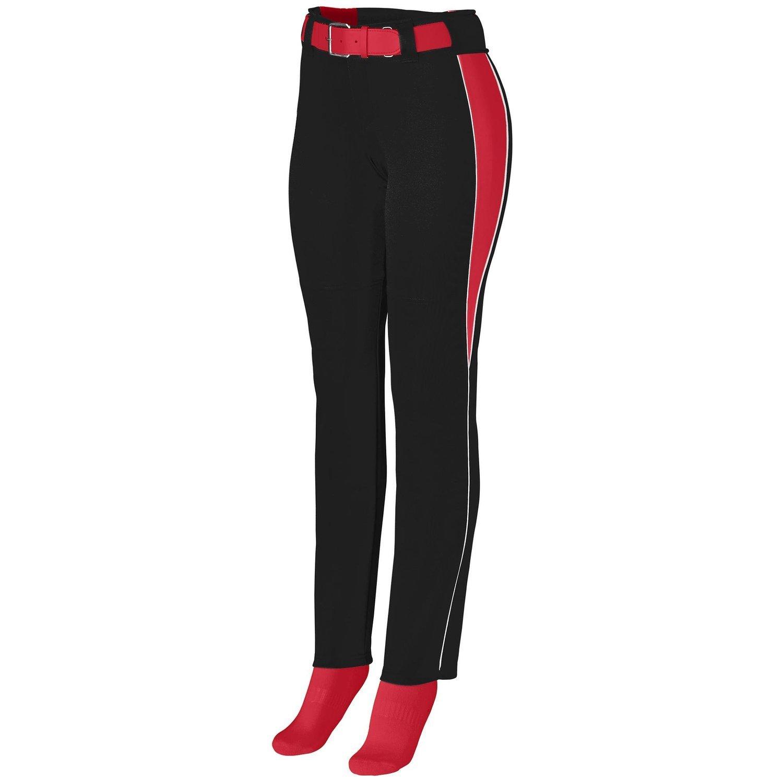 Augusta Sportswearレディースソフトボール外野パンツ B00P53X0S6 Large ブラック/レッド/ホワイト ブラック/レッド/ホワイト Large