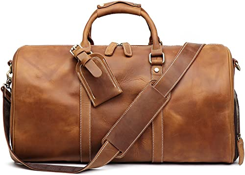 Leathfocus Leather Travel Luggage Bag, Mens Duffle Retro Carry on Handbag Brown