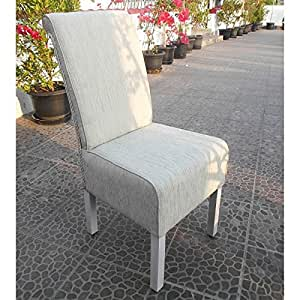 International Caravan Philip Upholstered Dining Chair (Set of 2) in White Wash