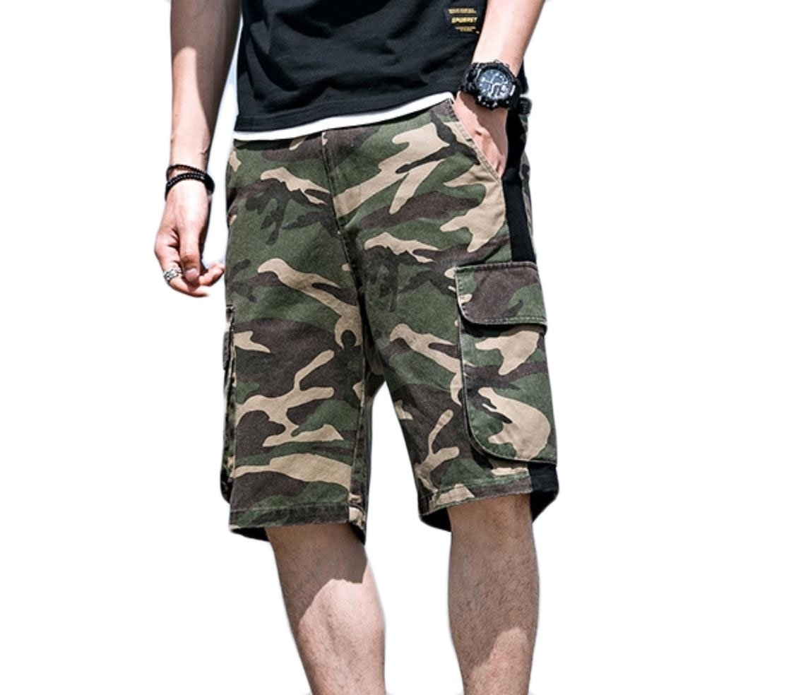 cheelot Men Casual Big Pockets Summer Cargo Pants All-Match Camouflage Shorts As Picture XL