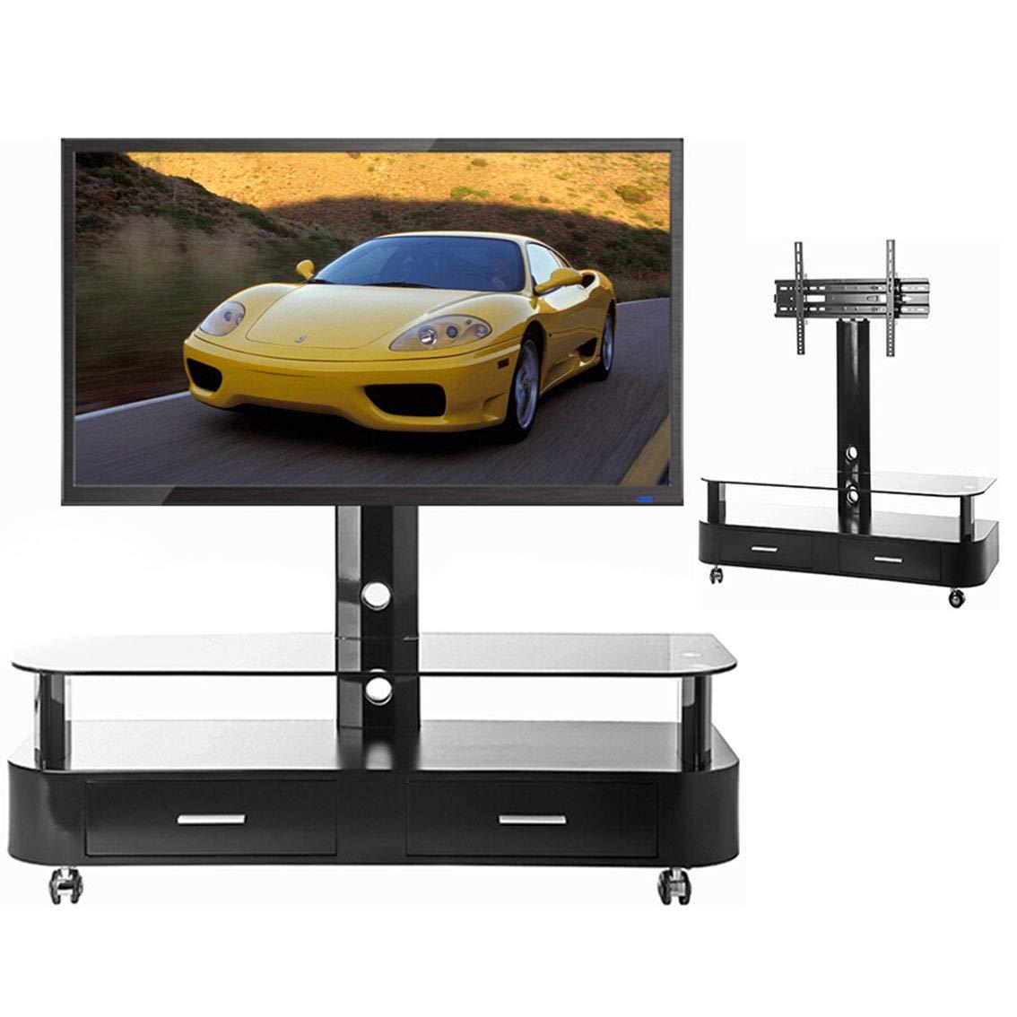 ユニバーサルTVカートスタンド、3265インチ360度回転LED LCDプラズマフラットパネル用引き出し付き強化ガラスベース付きワイヤー管理会議室レセプションホール   B07QYSYGVW