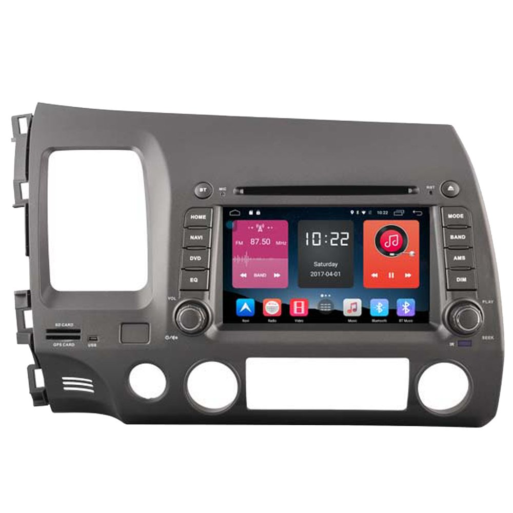 Autosion 7 inch In Dash Android 6.0 Car DVD Player Radio Head Unit GPS Navigation Stereo Gray for Honda Civic 2006 2007 2008 2009 2010 2011 Support Bluetooth SD USB Radio OBD WIFI DVR 1080P